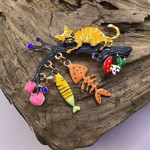 Cat fish branch mushroom brooch pin enamel moves!